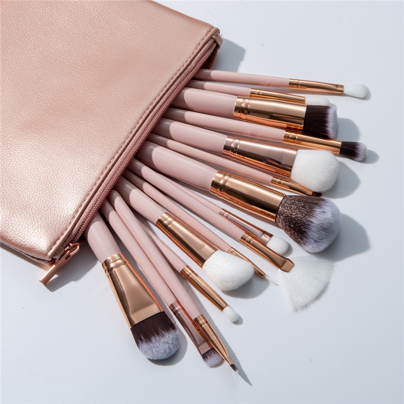 Excellent Quality 15pcs Makeup Brushes Set + Leather Case Foundation Powder Blush Highlighter Eyeshadow Blending Brush Maquiagem(China)