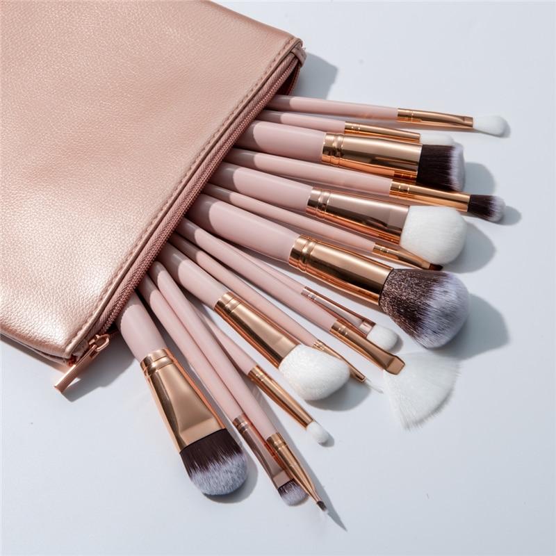 Excelente calidad 15 piezas maquillaje pinceles Set + Funda de cuero reales Fundación sombra de ojos Blush cepillo Maquiagem Techniqueing