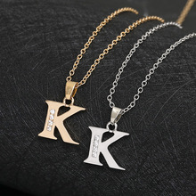 Cursive 26 English Initial Alphabet K name Necklace tiny word Letter monogram charm Metal Engagement necklace