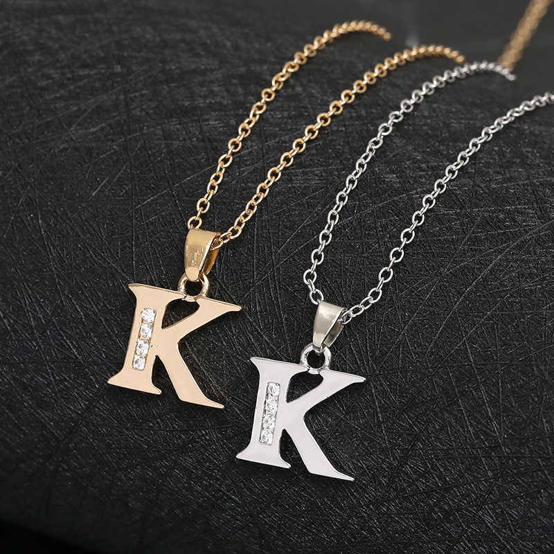 Cursive 26 English Initial Alphabet K name Necklace tiny English word  Initial Letter monogram charm Metal Engagement necklace| | - AliExpress