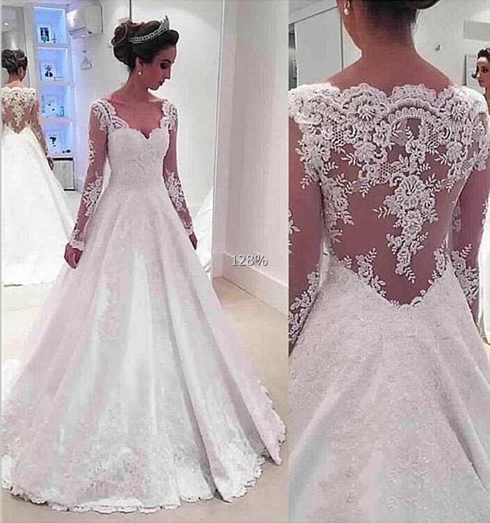 Lace Vestido De Noiva 2019 Muslim Wedding Dresses Ball Gown Long Sleeves See Through Boho Dubai Arabic Wedding Gown Bridal
