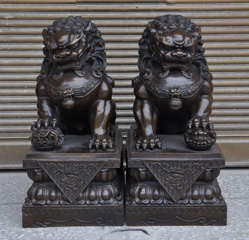 Crafts statue Chinese Bronze fengshui Evil Guardian Palace Door Foo dog Lion beast statue