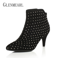 Black Women Ankle Boots Winter Autumn Rhinestones Crystal Boots High Heels Shoes Woman Sexy Flock Plus
