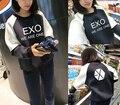 2015 outono EXO roupas estudante feminino casual solto de manga comprida manga morcego camisola de algodão patchwork camisas de base