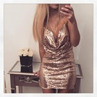 Save 3.76 on Ukraine Summer Women Sexy Halter Sequin Dress Glitter dress Gothic backless spaghetti strap Vestido Party Black sliver Gold XS