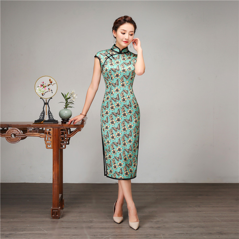 Vintage Women Slim Qipao Sexy Split Long Cheongsam Large Size Summer Short Sleeve Vestidos Female Silk Print Flower Dress M-XXXL