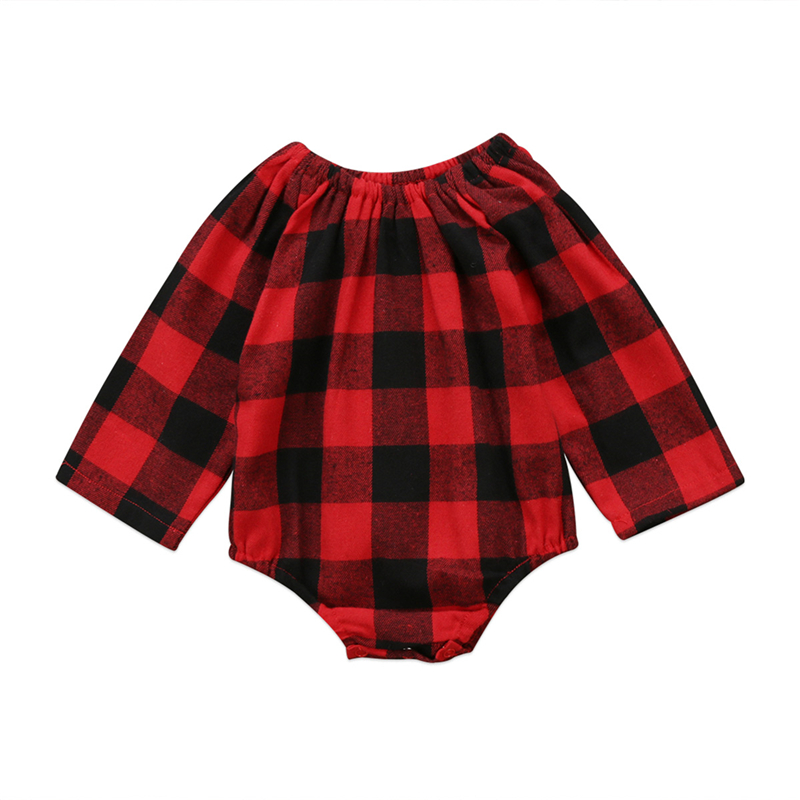 Baby Girl Plaid Romper Fashion Newborn Long Sleeve Romper 2017 New Bebes Jumpsuit Hot Sale Fall Body Suit Baby Girls Red Clothes