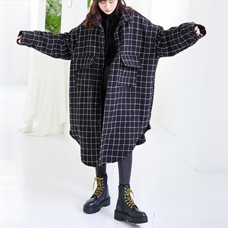 2019 nouveau automne et printemps manteau Plaid manteau femmes grande taille Long manteaux poches lâches col rabattu simple boutonnage manteau