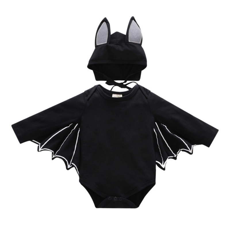 2PCS/sets Infant Baby Girls Halloween Costume Jumpsuits Cute Cartoon Toddler Cotton Climbing  Clothing Baby Boy Bat Rompers