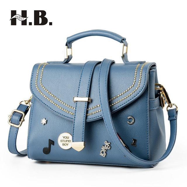 Hibo Brand Handbags Fashion Las Handbag Rivets Lipstick Badges Diagonal Shoulder New Summer Package