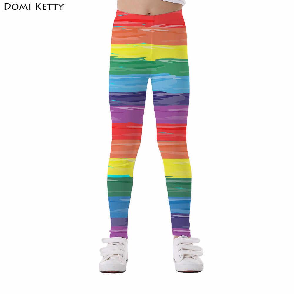 e59cf9300c414 Domi Ketty girls leggings printed rainbow stripe colorful kids casual  fitness high waist leggings children summer