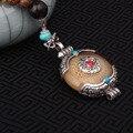2 colors fashion imitational beewax ethnic beige necklace,Nepal jewelry handmade sandalwoods  vintage tibetan silver  necklace