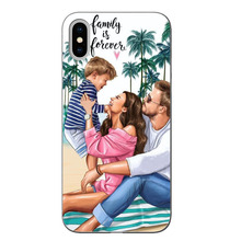 Fashion Black Brown Hair Baby Mom Girl Queen hard pc Phone Case Cover For iPhone X 5 5S SE 6 XR XS MAX 7 8 8Plus