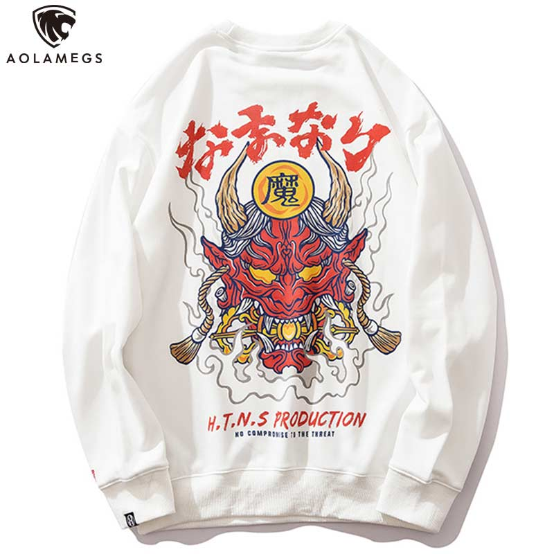 Aolamegs Sweatshirt Chinese Style Print Men Pullover Long Sleeve Loose Casual O-Neck Hip Hop Couple Advanced Autumn Streetwear