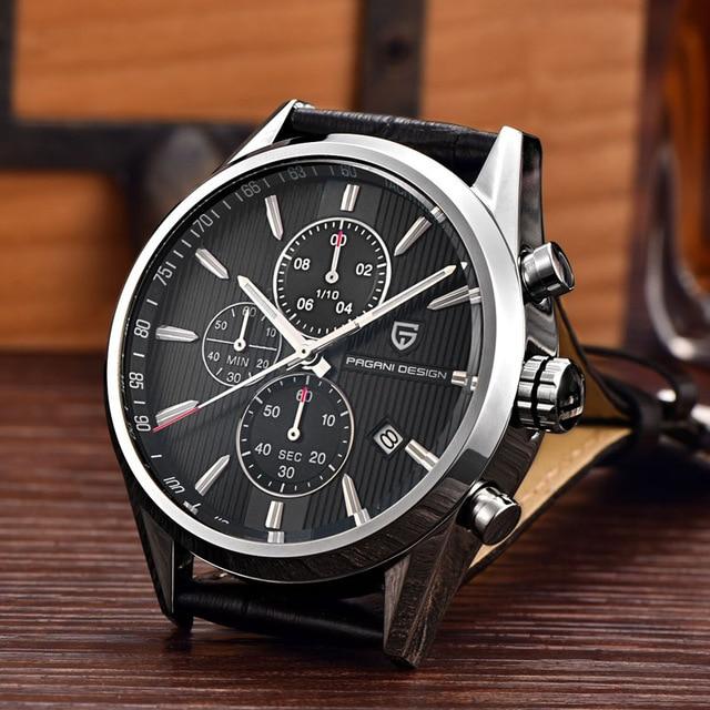 PAGANI DESIGN Leather Stainless Steel Business Watches Men Top Brand Luxury Dive 30m Quartz Sport Watch