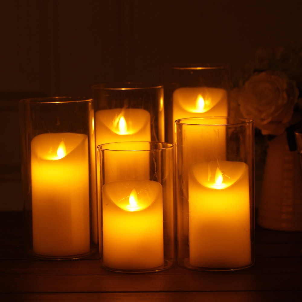 Set Of 3 Different Size Candle Battery Operated Flameless ... for Artificial Flame Light  83fiz