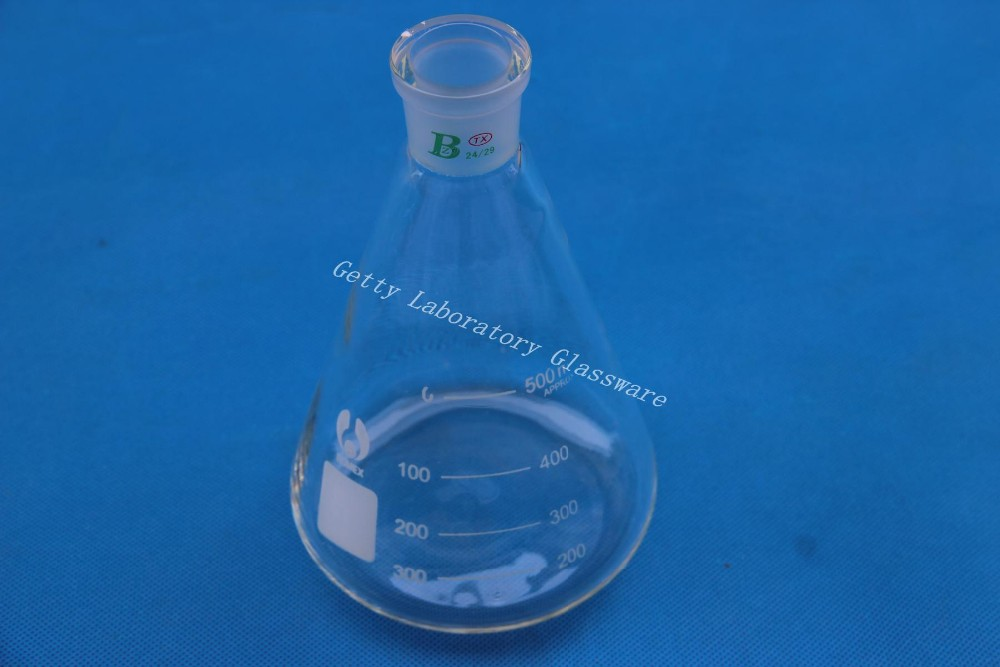 500ml Conical Flask, Erlenmeyer Flask, With 24/29 Joint Ground Mouth