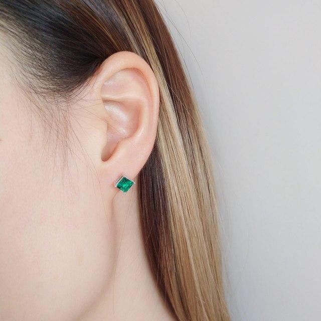 925 Sterling Silver Emerald Stud Earrings for Women 5