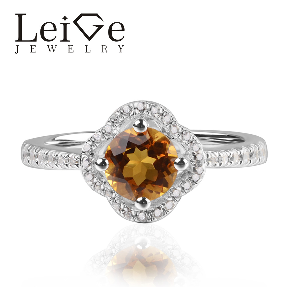 Leige Jewelry Natural Yellow Citrine Round Shape Engagement Proposal Rings For Woman Romantic Gifts 925 Sterling Silver