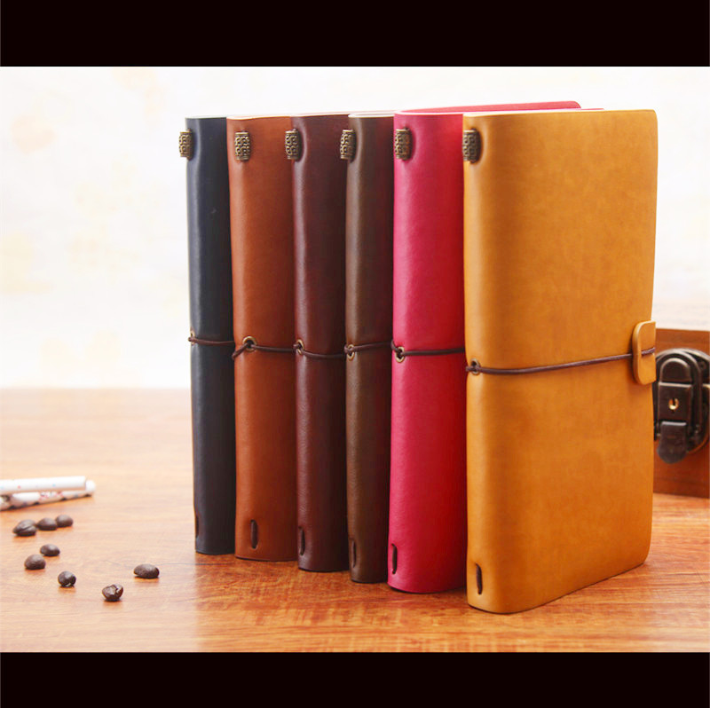 6 Colors Retro Leather Bound Notebook Travel Journal Handmade Memory Vintage Style Diary School Office Supplies Notepad 01642 vintage pu leather pirate travel diary book retro spiral notebook notepad stationery office school supplies