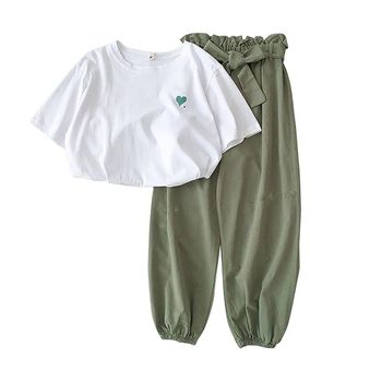 White T Shirt Set Summer Women Two Piece Outfits Casual Short Sleeve T-shirt + Ankle Length Long Haren Pants Summer Set