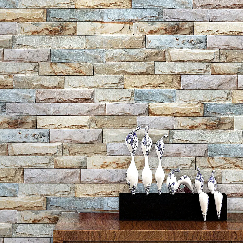 Navy vintage 3d brick wall paper roll grey non woven for Wallpaper home vintage