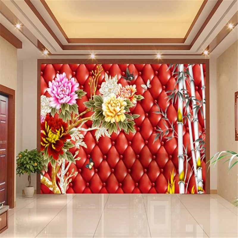Custom Mural 3D Chinese Style Peony Wallpapers for Walls 3D Bamboo Red Luxury Wall Covering Living Room Home Decor Theme Hotel custom european style wallpapers little angel fresco wallpaper for walls 3d hotel greek mythology mural western photo wallpapers