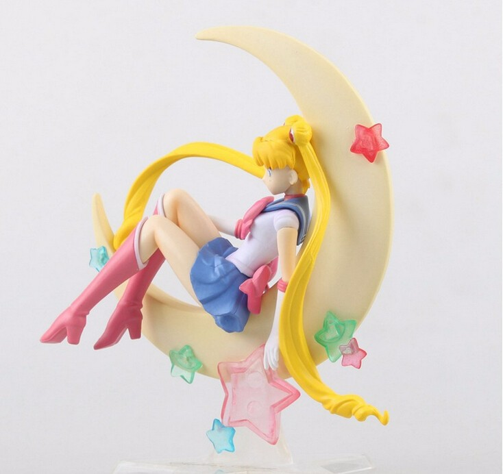 Japan Anime Sailor Moon Figure Tsukino Usagi PVC Action Figure Collectible Model Doll 15CM Anime Figure Brinquedos Free Shipping graphic print crop top