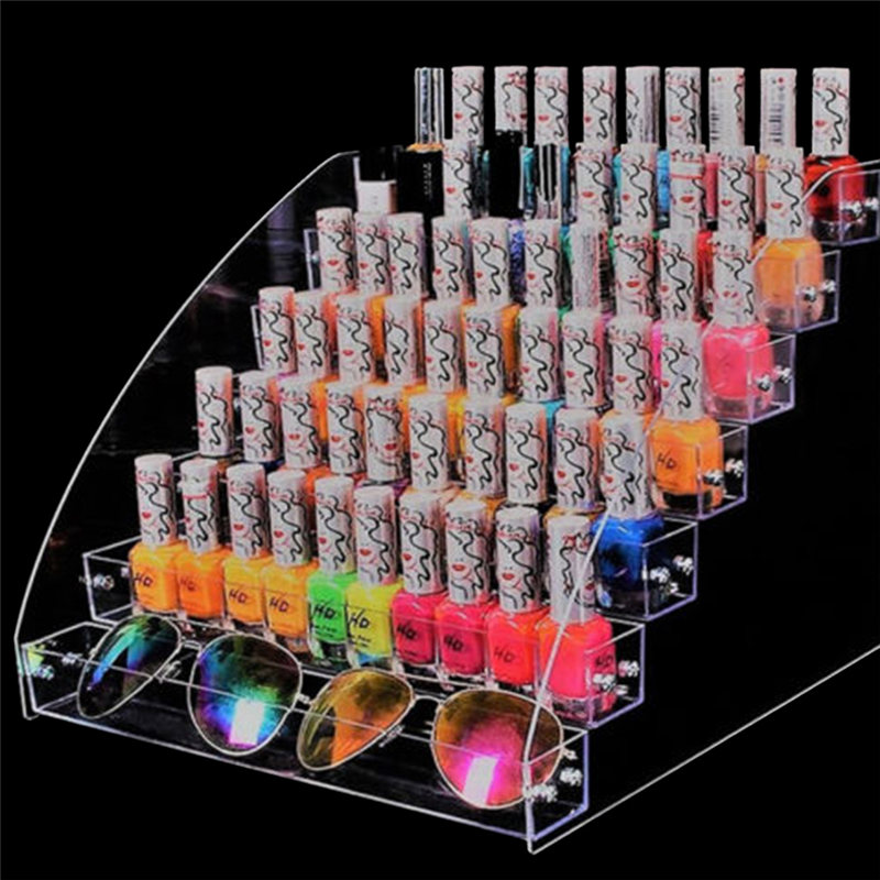 Empty Multi-layer Optional Rack Acrylic Clear Nail Polish Cosmetic Varnish Display Stand Holder Manicure Tool Organizer Storage