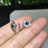 Natural blue sapphire gem Elegant Hollow Flower clip earrings 925 silver natural gemstone earrings women party gift jewelry