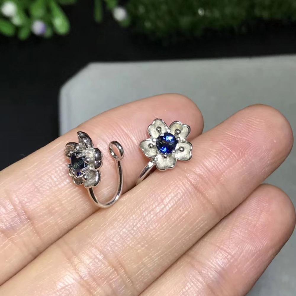 Saphir bleu naturel gemme élégant creux fleur clip boucles d'oreilles 925 argent naturel pierres précieuses boucles d'oreilles femmes fête cadeau bijoux