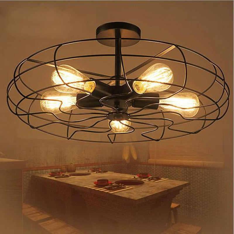 Винтаж 5 головок железный подвесной светильник в стиле ретро промышленный вентилятор потолочные светильники кантри Кухня Лофт лампа без E27 лампы