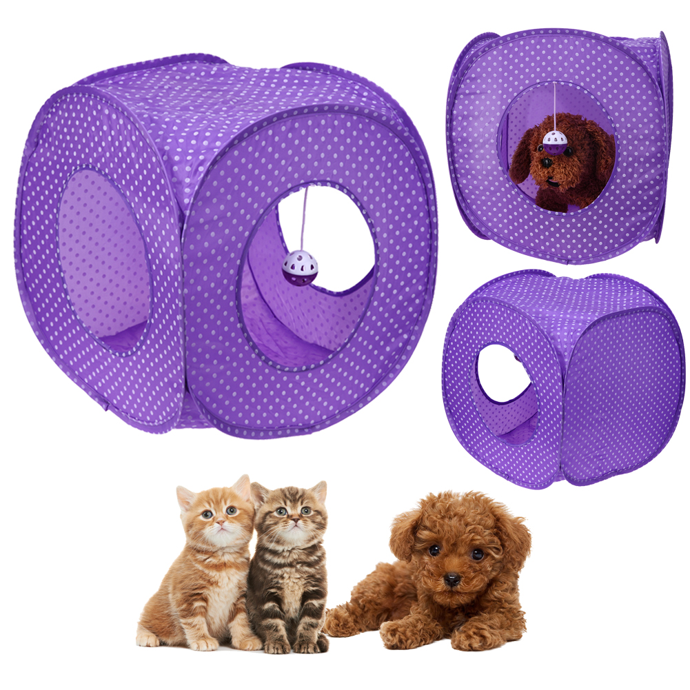 <font><b>Portable</b></font> Foldable Pets Tent Small <font><b>Dogs</b></font> Cats Rabbits House Bed Nest Fabric Indoor Outdoor Camping Tents <font><b>Kennels</b></font> Purple image