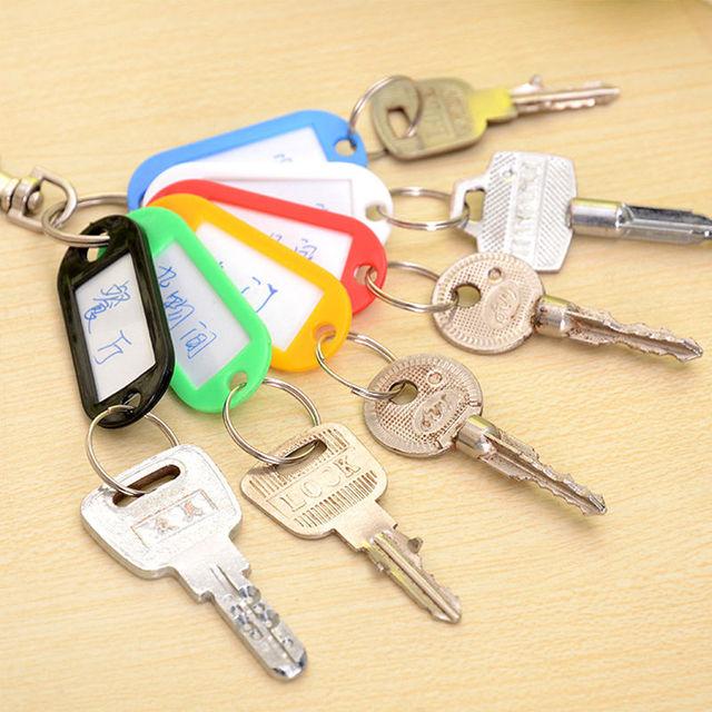 10 PCS Plastic Custom Split Ring ID Key Tags Labels Key Chains Key Rings Numbered Name Baggage Luggage Tags 2