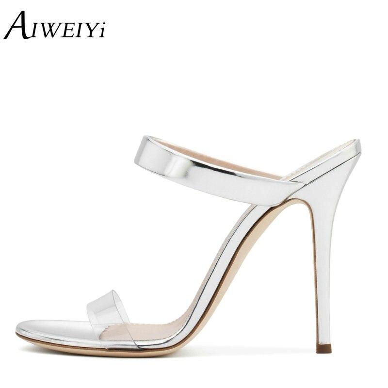 AIWEIYi Women Sandals 2018 Summer Style Stiletto High Heel Shoes Women For Party Dress Platform Shoes Slip On High Heel Slippers цена