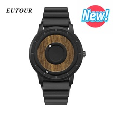Newest EUTOUR Minimalist Wood Dial Scaleless Magnetic Watch Men Luxury Couple Sport Waterproof Mens Quartz Watches 2019
