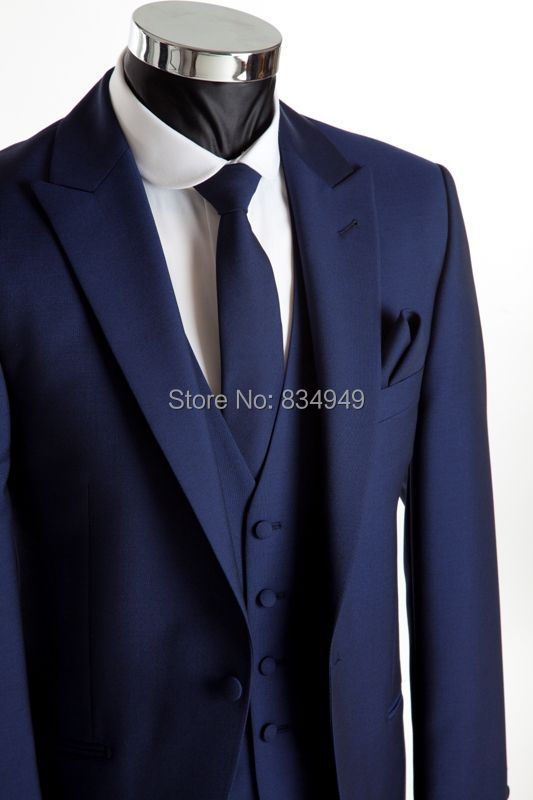 Wedding Suits For Men Dark Blue Custom Made, Bespoke Blue Wedding Tuxedos For Men, 2 Button Peak Lapel Men Wedding Suit