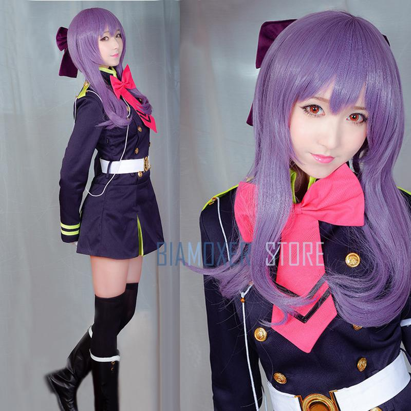 Biamoxer Owari no Seraph Of The End Shinoa Hiragi Cosplay Wigs Purple Hair Heat Resistant Cosplay Costume Wig