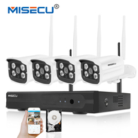 MISECU Plug Play 1080P 4CH Wireless System FHD VGA HDMI P2P 30m Night Vision WIFI IP