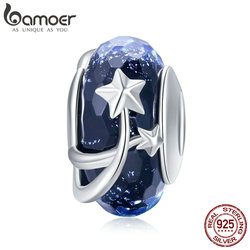 BAMOER 4 Styles Genuine 925 Sterling Silver Star Flower European Murano Glass Beads Fit Bracelets Bangles DIY Jewelry SCC861