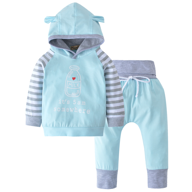 newborn infant baby boys girls outfits clothes set hoodies tops long sleeve letter milk hooded