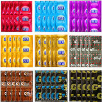 100 PCS/lot 10 Styles Fruit Flavor Super Thin Slim Oral Sex Condoms Lubricated Dots Penis Stimulation Condoms for Men Sex Toys