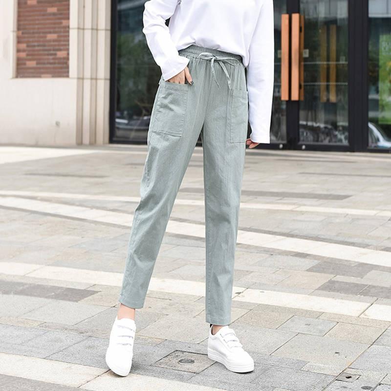 2019 summer new women's casual pants capris fashion cotton Linen crops pants Streetwear elastic waist harem pants trousers