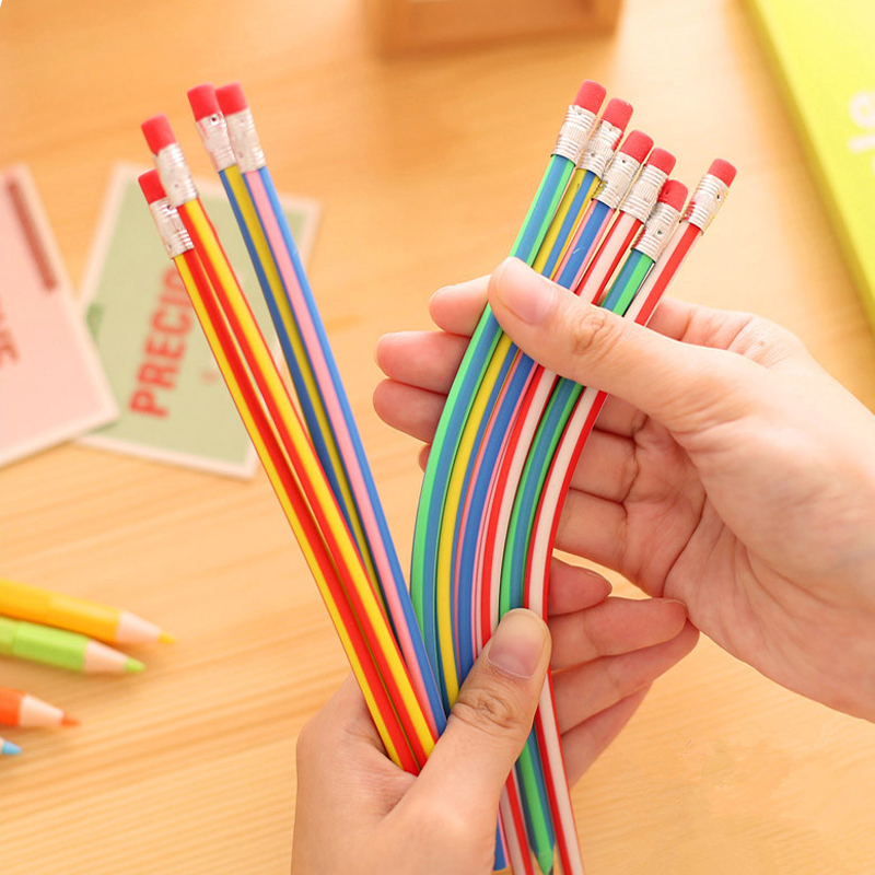 5 PCS Creative Magic Korea Stationery Colorful Magic Bendy Flexible Soft Pencil with Eraser Student Learning School Office Use