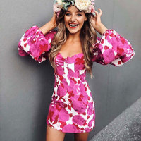 2019 Fashion Floral Print Long Sleeve Sexy Women Mini Dress