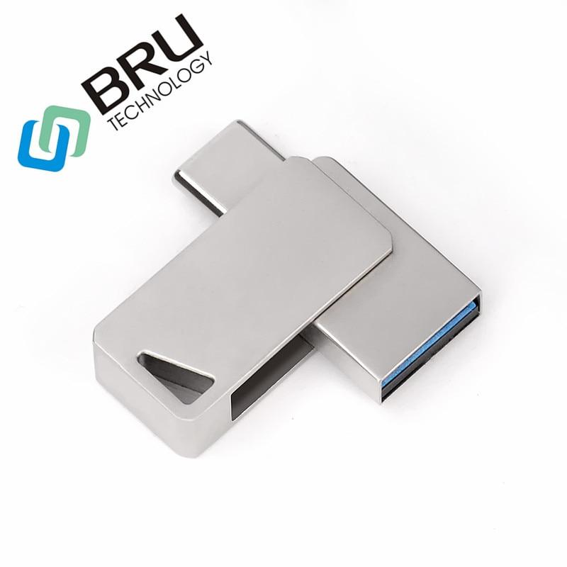 BRU 16GB 32G 64G OTG USB zibatmiņas disks TYPE C viedtālrunim ar ātrgaitas mini Pendrive OEM USB zibatmiņas atmiņas karti