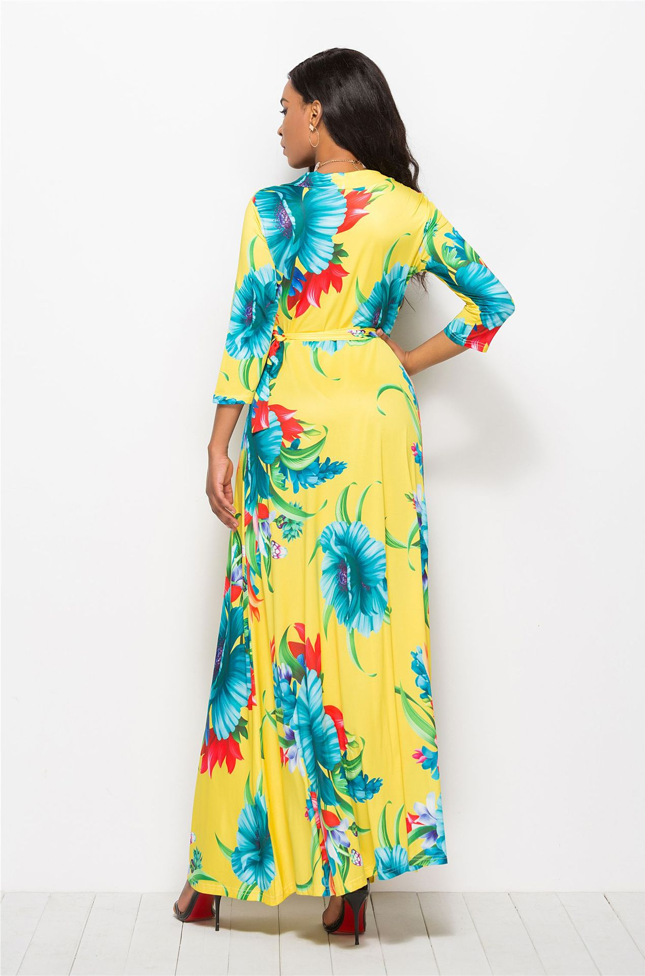 S XL women fashion v neck long sleeve winter autumn dress night evening party club dress long floral print maxi dress in Dresses from Women 39 s Clothing