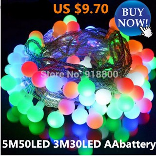 String of holiday lights 5M 50led 3M 30led 3pcsAA battery operate led outdoor Party led home decorat