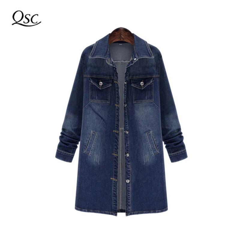 9b80c246da8fe QSC Cropped Jean Jacket Dark Blue Bomber Short Denim Jakcets Jaqueta Casual  Ripped Jeans Coat Long Sleeve 2XL Outwear Jacket-in Basic Jackets from  Women s ...