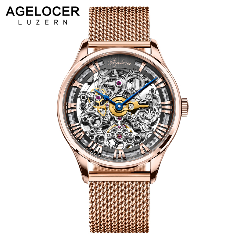 AGELOCER Brand Men watches Automatic mechanical watch Power Reserve 80 Hours Sport clock wristwatch 18k Gold relojes hombre agelocer brown watch a classic timepiece sport dual dial mens casual wristwatches wristwatch free shipping relojes para hombre